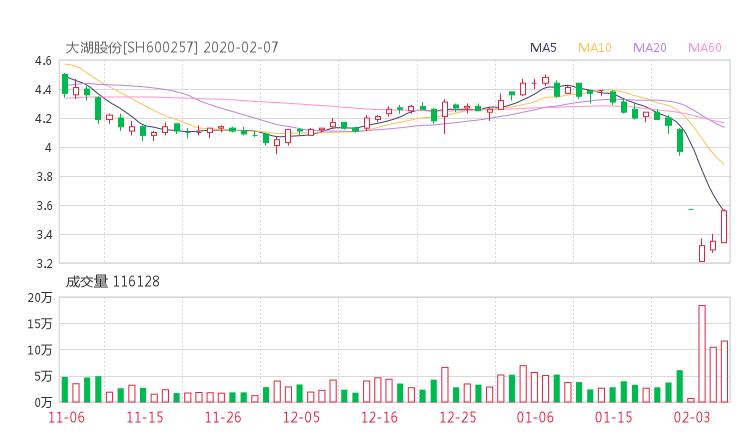 600257股票收盘价 大湖股份资金流向2020年2月7日