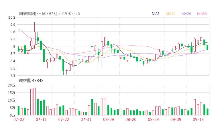 603977股票收盘价 国泰集团资金流向2019年9月24日