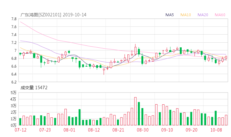 173平台:002101股票收盘价 广东鸿图资金流向2019年10月14日
