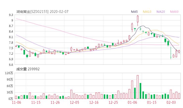 002155股票收盘价 湖南黄金资金流向2020年2月7日